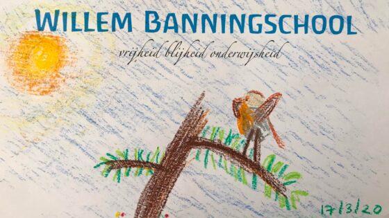 Thuisonderwijs op de tijdelijke 'Willem Banningschool'